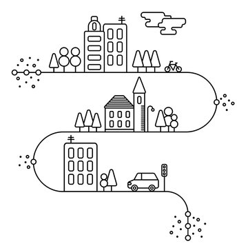 Vector concept and info graphic design elements in linear style, city illustration,buildings and nature reserve, illustration in white colors