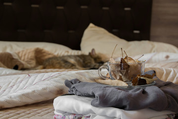 Cozy indoor autumn mood, female clothes folded on the bed with a coffee mug full of autumn leaves on it, and a sleeping cat in the background