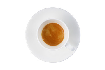 espresso in a white cup on a white background isolated
