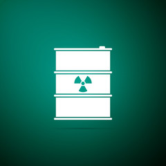 Radioactive waste in barrel icon isolated on green background. Toxic refuse keg. Radioactive garbage emissions, environmental pollution, danger of ecological disaster. Flat design. Vector Illustration