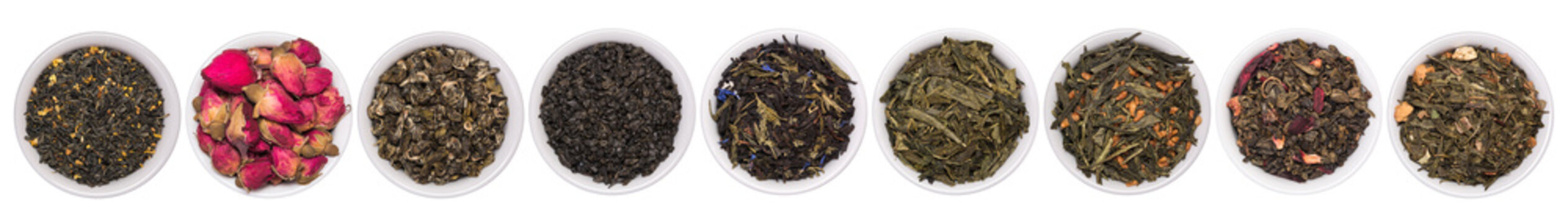 A set of dry herbal and floral tea. Green, black, composition teas isolated on white background.
