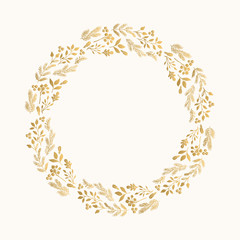 Golden invitation wreath. New Year hand drawn design. Ornate floral print.