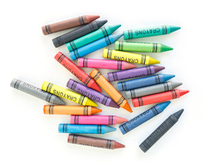 Fototapete - crayon drawing border multicolored background