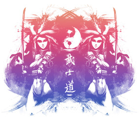 """Beautiful samurai girls with Katanas,The inscription in Japanese means """" the way of a warrior"""""""