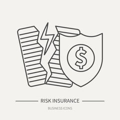 Risk insurance - business icon in flat thin line style. Graphic design elements for ad, apps, website,packaging, poster or brochure. Vector illustration.