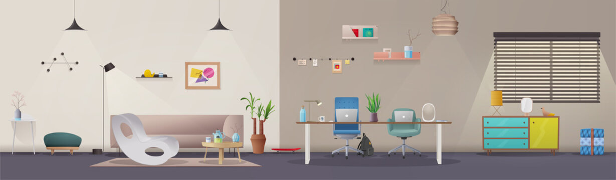 Living room and office interior. Modern apartment scandinavian or loft design. Cartoon vector illustration