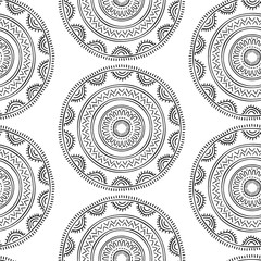 Hand drawn abstract seamless pattern. Ornate fancy background.