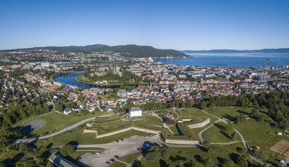 Aerial view of Trondheim and Kristiansten Fortress
