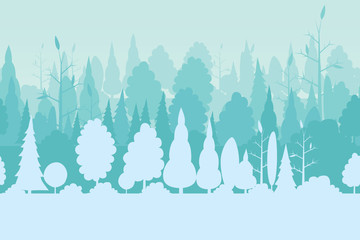 Vector illustration of seamless pattern with various trees in the winter season background.