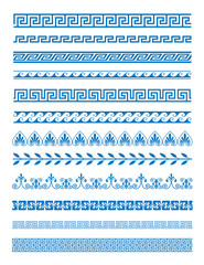 Vector illustration set of Greek patterns and ornaments on white background. Wave and meander decorative elements set blue color.