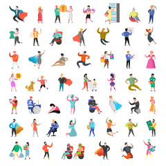 Flat People Characters Collection. Man and Woman Cartoons in Various Actions, Poses and Activities. Business People, Super Hero. Vector illustration