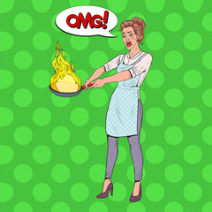 Pop Art Housewife in the Kitchen Holding Pan. Afraid Young Woman in Apron Cooking with Burning Pan. Vector illustration