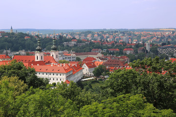 Aerial view of Strahov monastery in Prague, Czech Republic