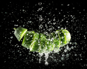 Cucumber slices in water
