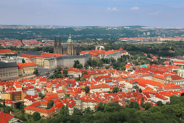 View of Prague castle from Petrin hill in Prague, Czech Republic