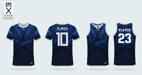 Blue zigzag pattern t-shirt sport design template for soccer jersey, football kit and tank top for basketball jersey. Sport uniform in front and back view. Sport shirt mock up for sport club. Vector.