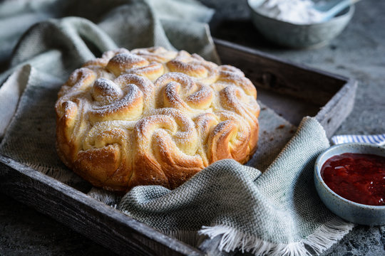 Baked sweet pull apart rose shaped roll pastry