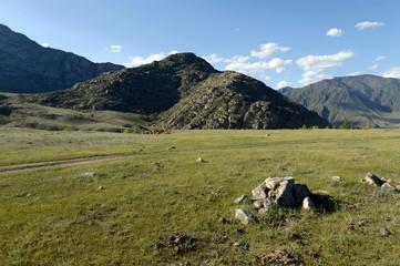 Mountain landscape in the area of the river Big Yaloman. Mountain Altai