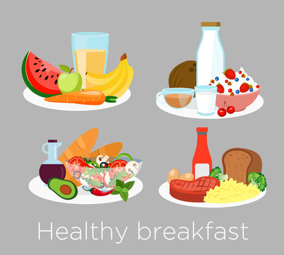 Vector illustration set of different types of healthy breakfast food in cartoon style. Lunch coffee, porridge,orange and morning nutrition, delicious fruits, bread.