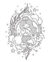 Little queen mermaid, sitting on a stone, hugging little fish. Outline illustration.