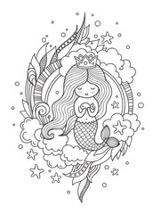 Little queen mermaid with fish. Page for coloring book, greeting card, print, t-shirt, poster. Hand-drawn vector illustration.