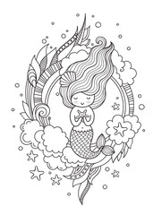 Mermaid. Page for coloring book, greeting card, print, t-shirt, poster. Hand-drawn vector illustration
