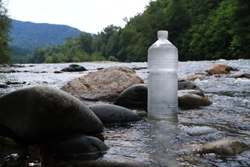 Picture of a plastic bottle with water.