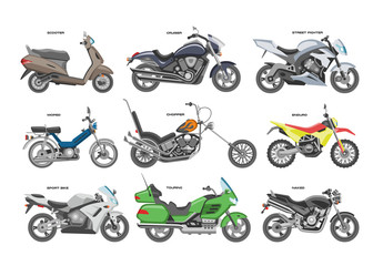 Motorcycle vector motorbike or chopper and motoring cycle ride transport illustration motorcycling set of scooter motor bike isolated on white background Fototapete