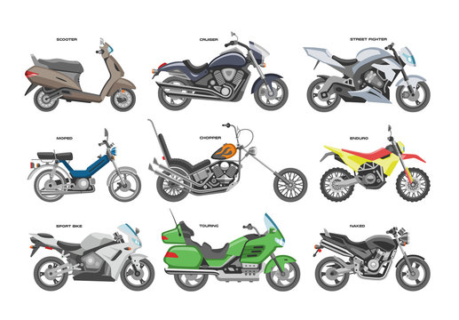 Motorcycle vector motorbike or chopper and motoring cycle ride transport illustration motorcycling set of scooter motor bike isolated on white background