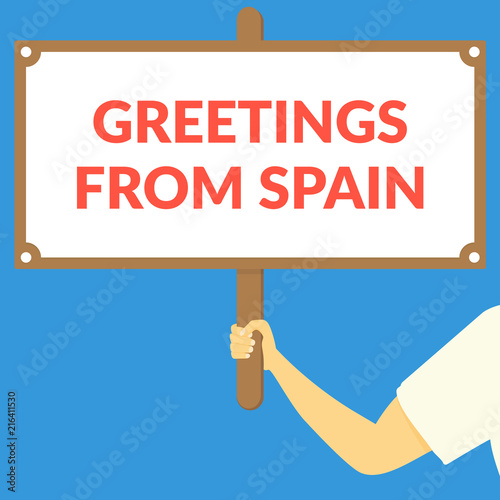 Greetings from spain hand holding wooden sign stock image and greetings from spain hand holding wooden sign m4hsunfo