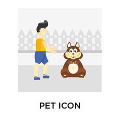Pet icon vector sign and symbol isolated on white background, Pet logo concept