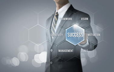 Key to success concept for business and finance. Businessman is pointing on the hexagon message bubble which the word 'success' on bright tone background.