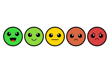 Set of kawai emoji. Emoticons. Cute colorful faces. Rating. Customer feedback. Vector illustration