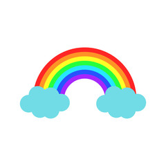 Vector color rainbow with clouds. Cartoon flat icon
