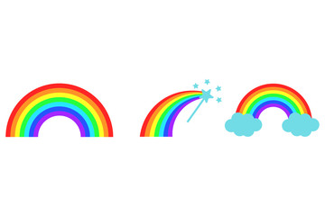 Vector color rainbow collection. Clouds. Magic wand. Cartoon flat icons