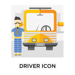 Driver icon vector sign and symbol isolated on white background, Driver logo concept