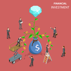 Flat isometric vector concept of financial investment, marketing analysis, investing opportunity.