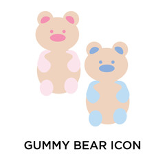 Gummy bear icon vector sign and symbol isolated on white background, Gummy bear logo concept