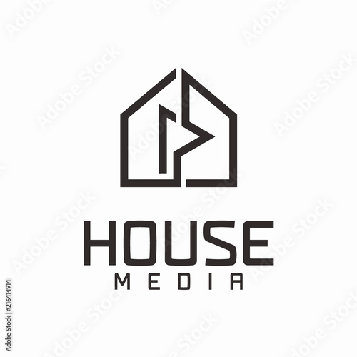 Minimalist House Media Logo Design Concept Stock Image And Royalty