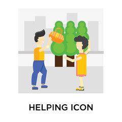 Helping icon vector sign and symbol isolated on white background, Helping logo concept