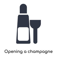 Opening a champagne bottle icon vector sign and symbol isolated on white background, Opening a champagne bottle logo concept