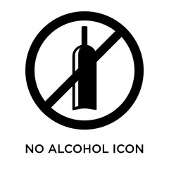 no alcohol icons isolated on white background. Modern and editable no alcohol icon. Simple icon vector illustration.