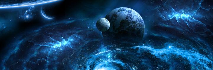 бескрайний космос голубая планета Wall mural