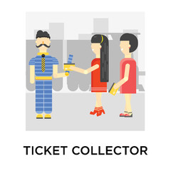 Ticket collector icon vector sign and symbol isolated on white background, Ticket collector logo concept