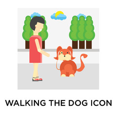 Walking the dog icon vector sign and symbol isolated on white background, Walking the dog logo concept