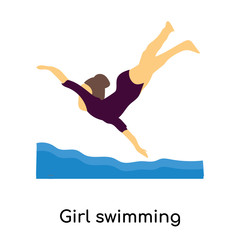 Girl swimming vector vector sign and symbol isolated on white background, Girl swimming vector logo concept