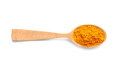 Wooden spoon with turmeric powder on white background. Different spices