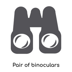 Pair of binoculars silhouette icon vector sign and symbol isolated on white background, Pair of binoculars silhouette logo concept