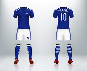 Blue soccer jersey uniform set  design in vector illustration