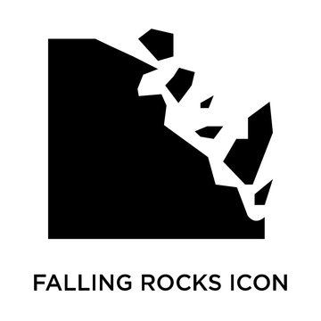 falling rocks icons isolated on white background. Modern and editable falling rocks icon. Simple icon vector illustration.
